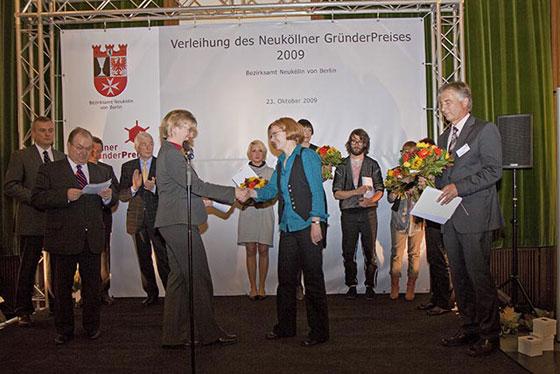 Preisverleihung Nicola Pridik Neuköllner Gründerpreis 2009