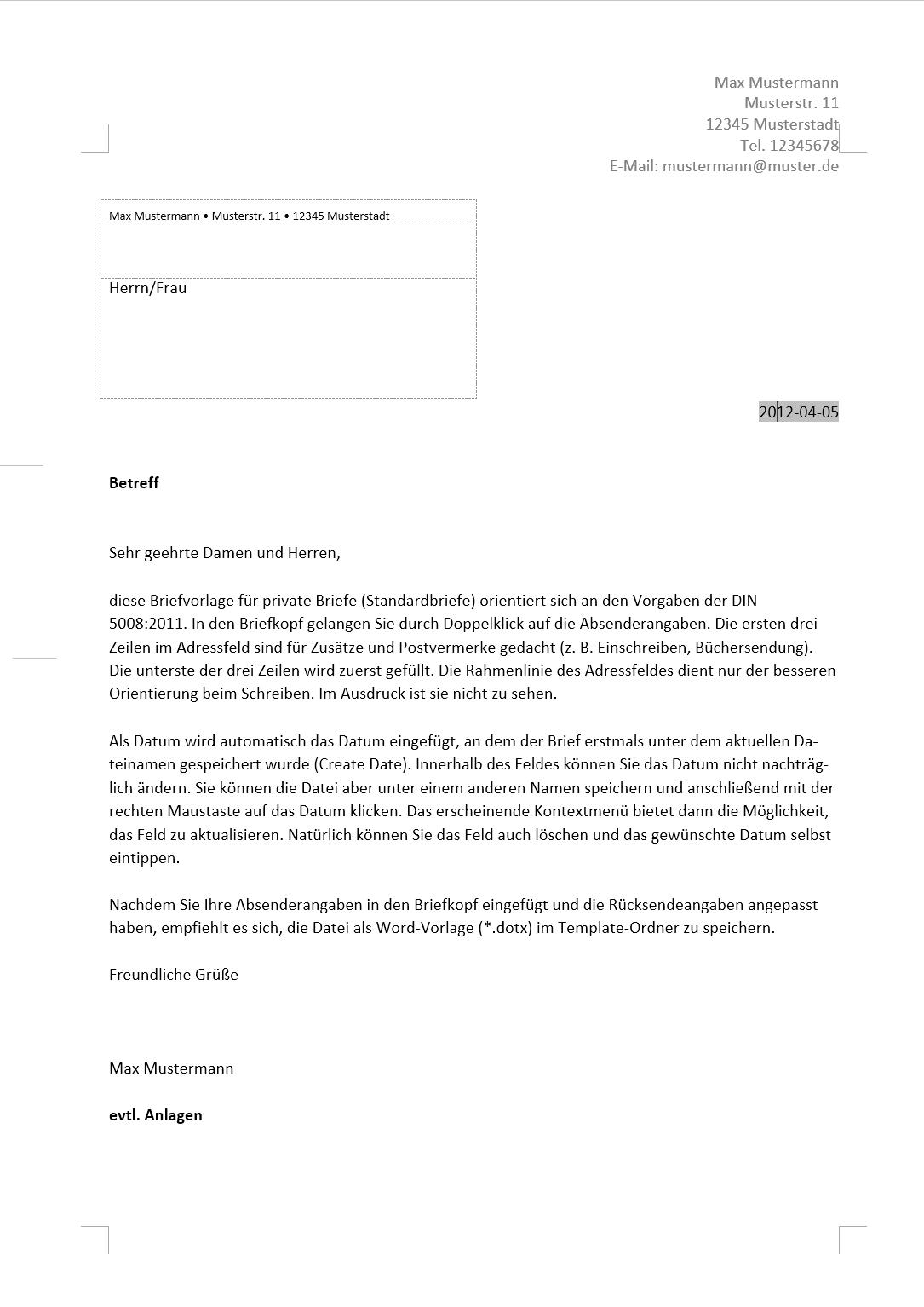 Briefvorlage für Standardbriefe