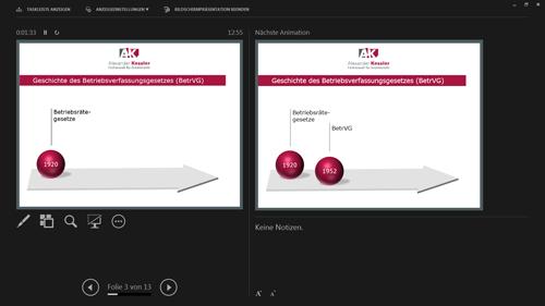Referentenansicht PowerPoint 2013 - nächste Animation