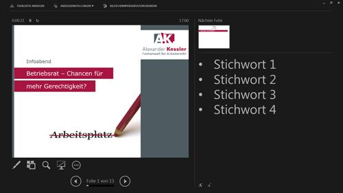 Referentenansicht PowerPoint 2013 - Vortragsnotizen