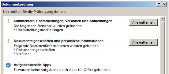 Word 2013: Dokument prüfen - alle entfernen
