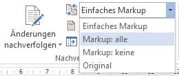 Word 2013: Markup: alle auswählen