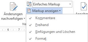 Word 2013: Menü Markup anzeigen