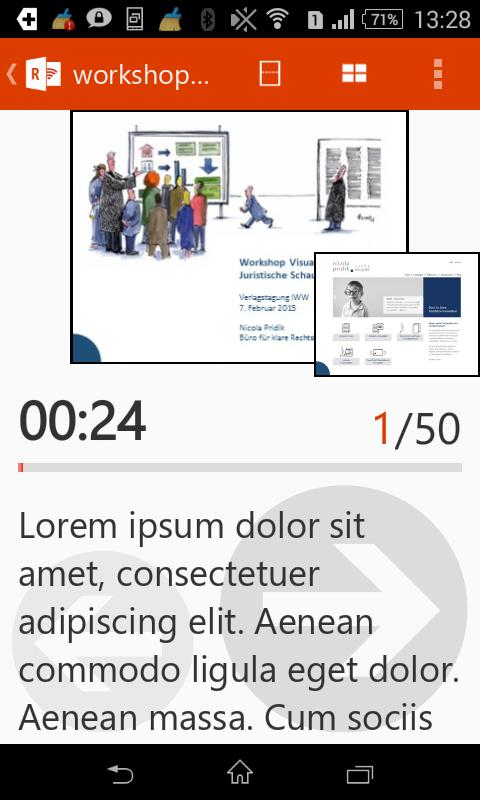 Screenshot Office Remote Vortragsnotizen