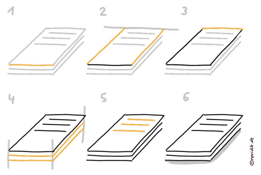 Einen Papierstapel zeichnen
