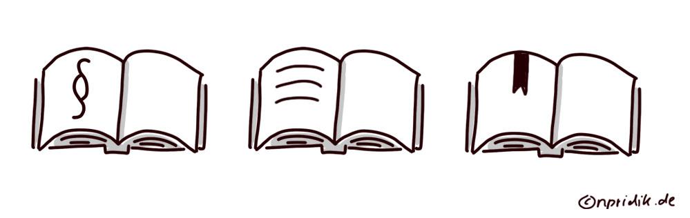 Varianten eines aufgeschlagenen Gesetzbuches