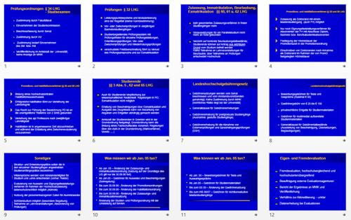 Präsentationsbeispiel mit zu vielen überladenen Textfolien