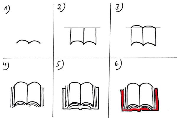 Gesetzbuch zeichnen - aufgeschlagen
