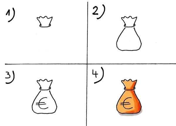 Geldsack zeichnen