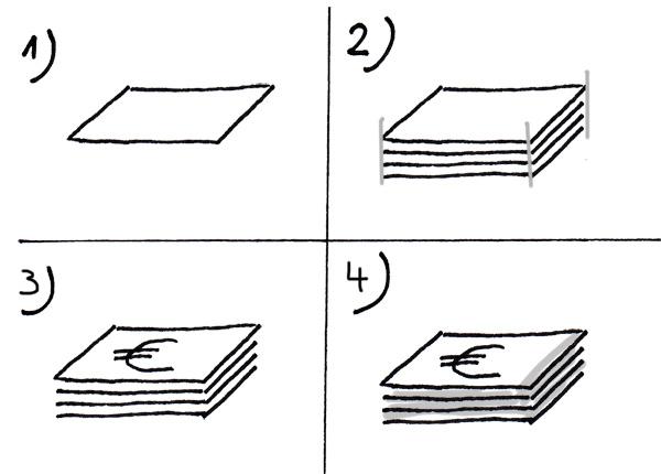 Stapel mit Geldscheinen zeichnen