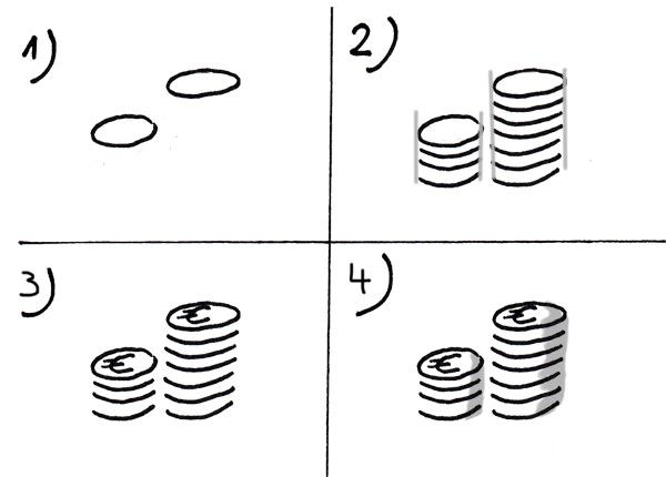 Stapel mit Münzen zeichnen