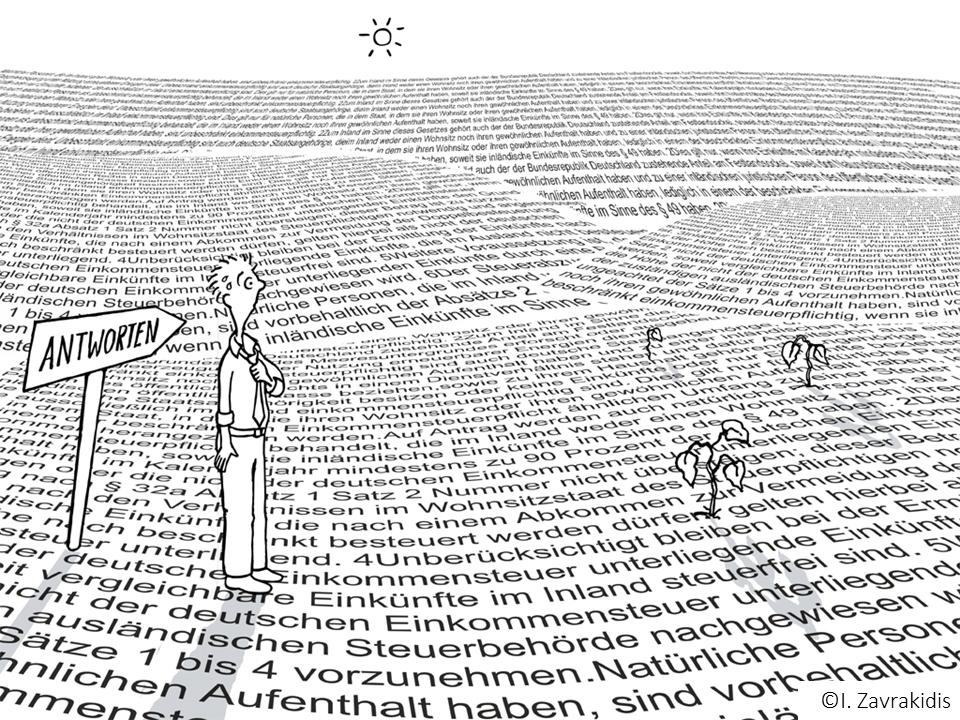 Textwüste (Ilustration: Ildikó Zavrakidis)