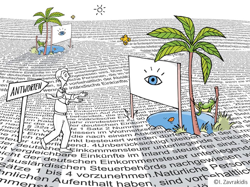 Visuelle Oasen in der Textwüste (Ilustration: Ildikó Zavrakidis)