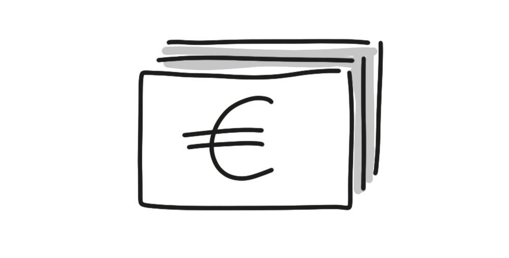 Geldscheine von oben zeichnen