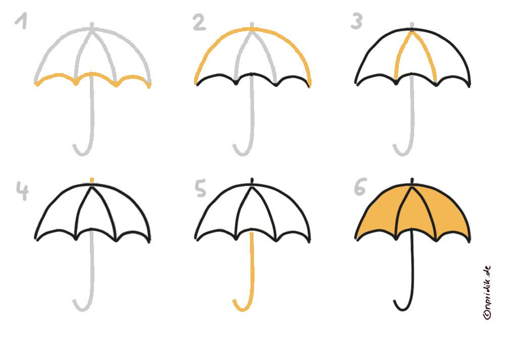 Regenschirm zeichnen