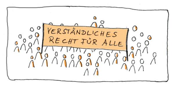 Verständliches Recht für alle (Zeichnung: N. Pridik)