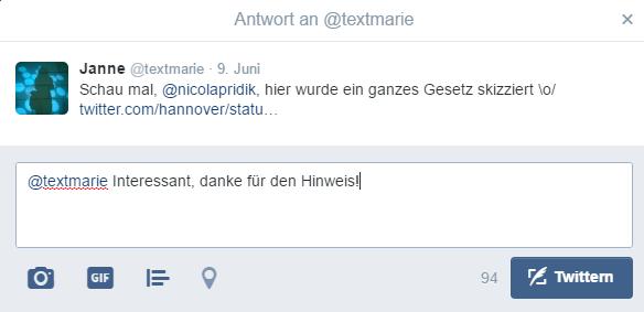 Screenshot Tweet mit Antwort