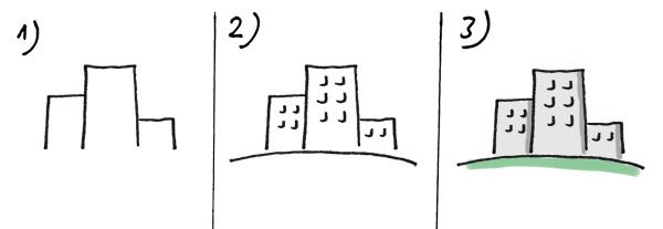 Bürogebäude zeichnen