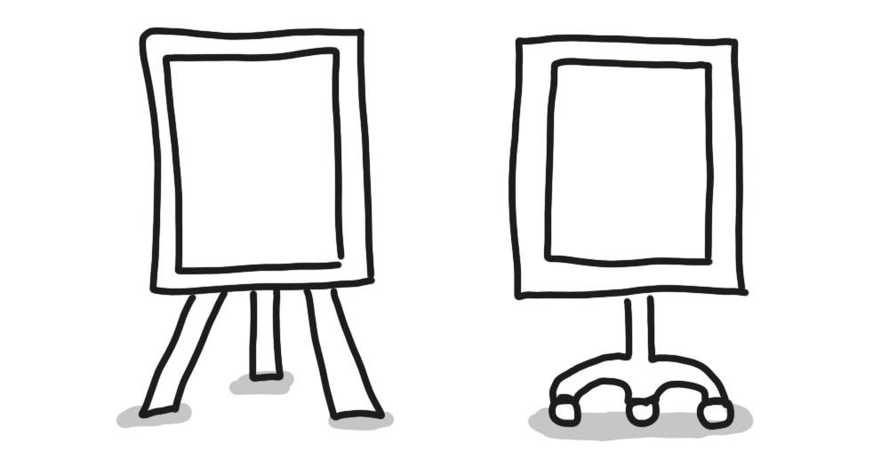 Flipcharts mit zwei unterschiedlichen Ständern