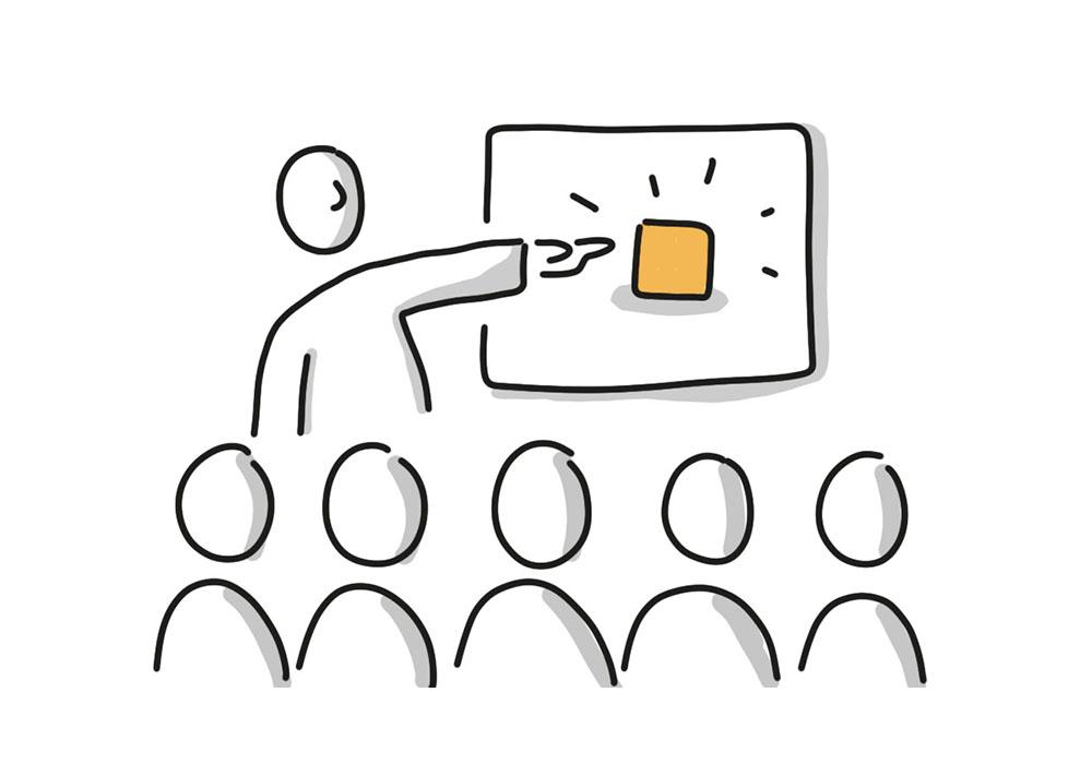 Präsentationssituation mit Publikum