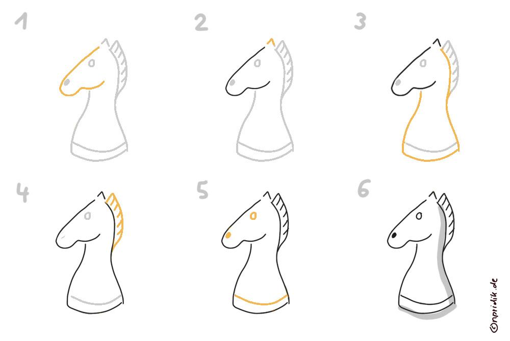 Schachfiguren zeichnen - Pferd