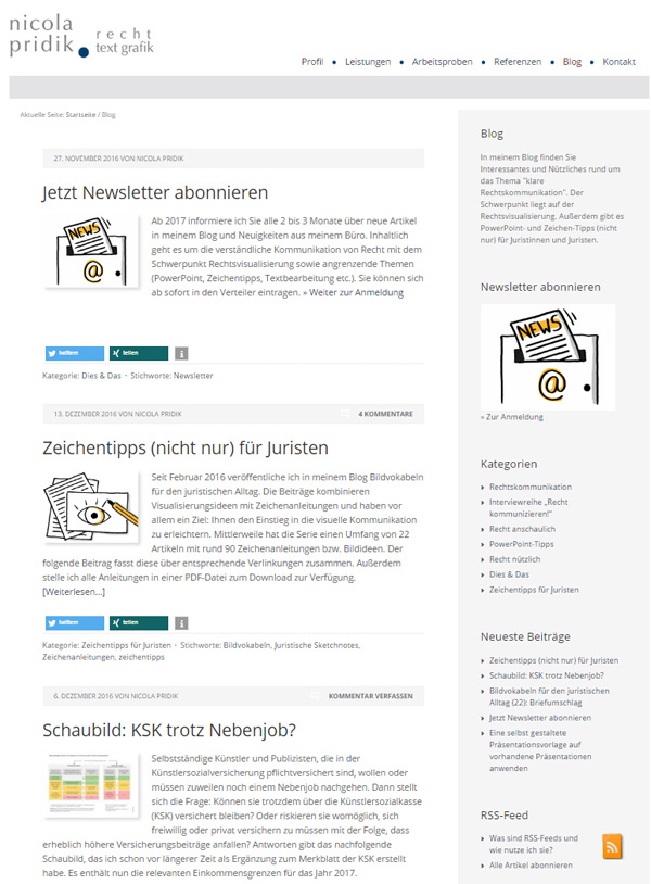 Screenshot Blog Nicola Pridik