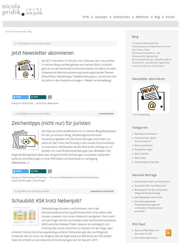 Screenshot Blog Nicola Pridik