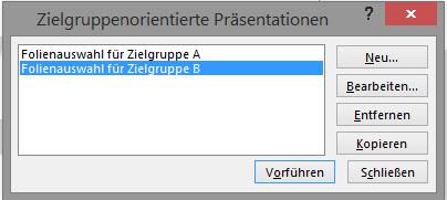 Screenshot PowerPoint: Zielgruppenorientierte Präsentation bearbeiten