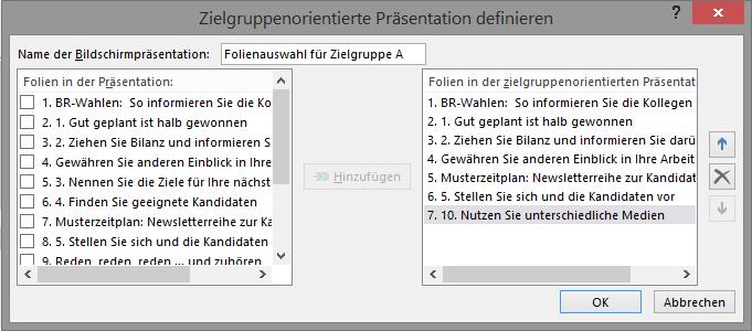 Screenshot PowerPoint: Dialogfeld Zielgruppenorientierte Präsentation definieren