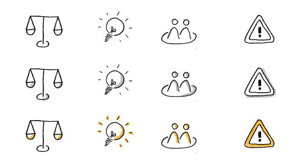 Sketchnote-Icons im Vergleich: nur Kontur, mit Schatten, mit Farbe