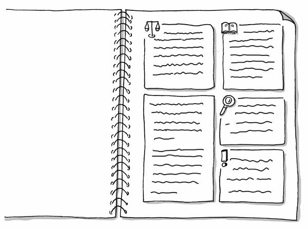 Vorlesungsmitschrift (Textblöcke) mit Sketchnote-Icons