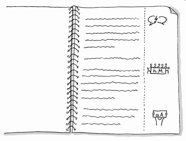 Vorlesungsmitschrift mit Sketchnote-Icons