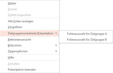 Screenshot PowerPoint: Zielgruppenorientierte Präsentation in Bildschirmpräsentationsansicht starten