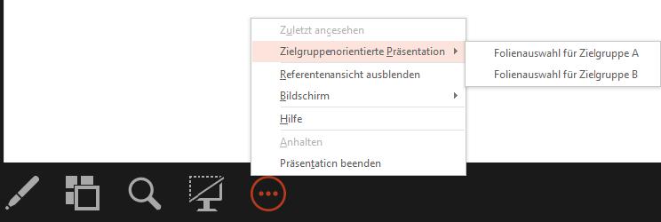 Screenshot PowerPoint: Zielgruppenorientierte Präsentation aus Referentenansicht starten
