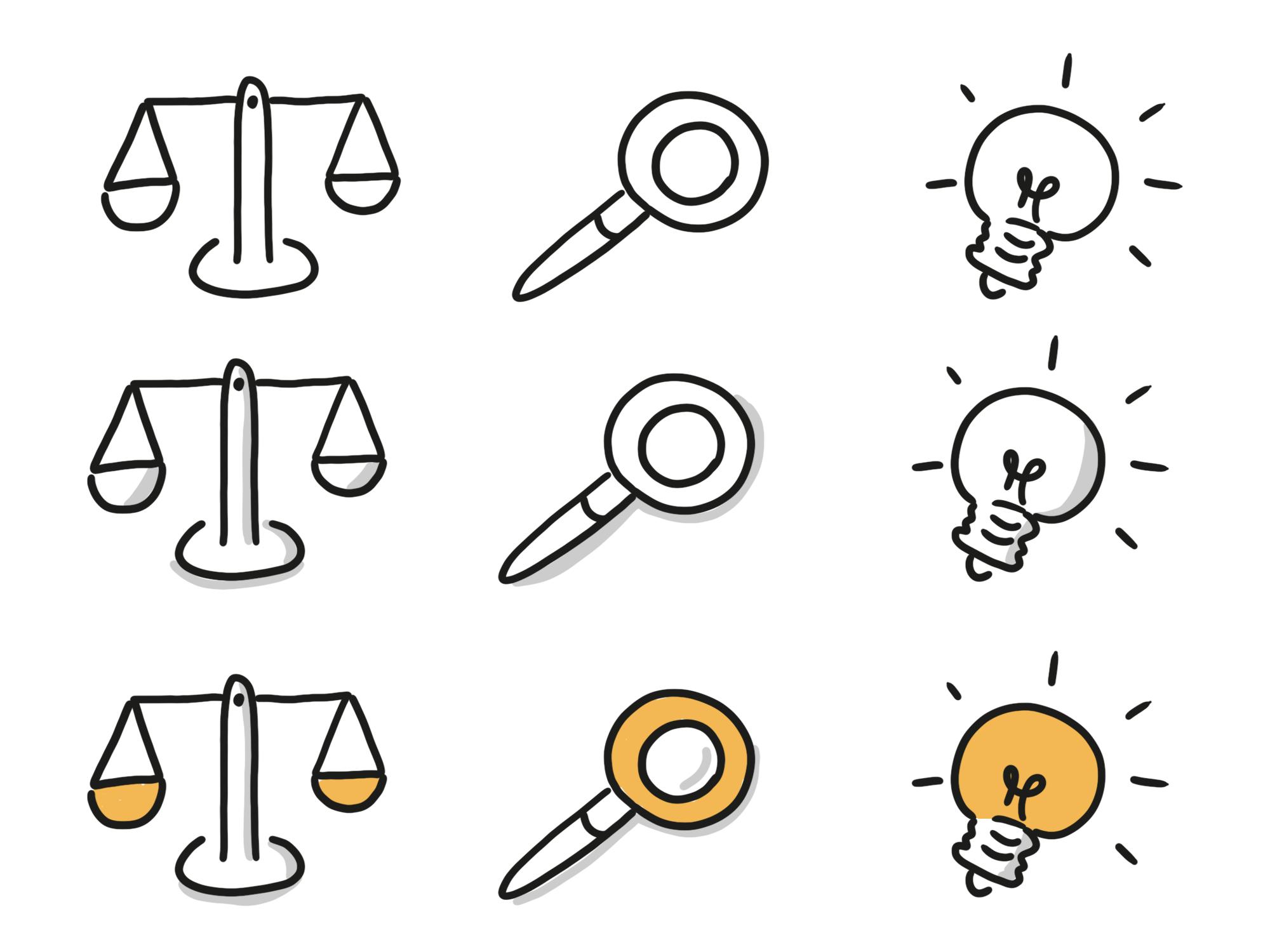Icon-Varianten: Kontur, Schatten, Farbe und Schatten