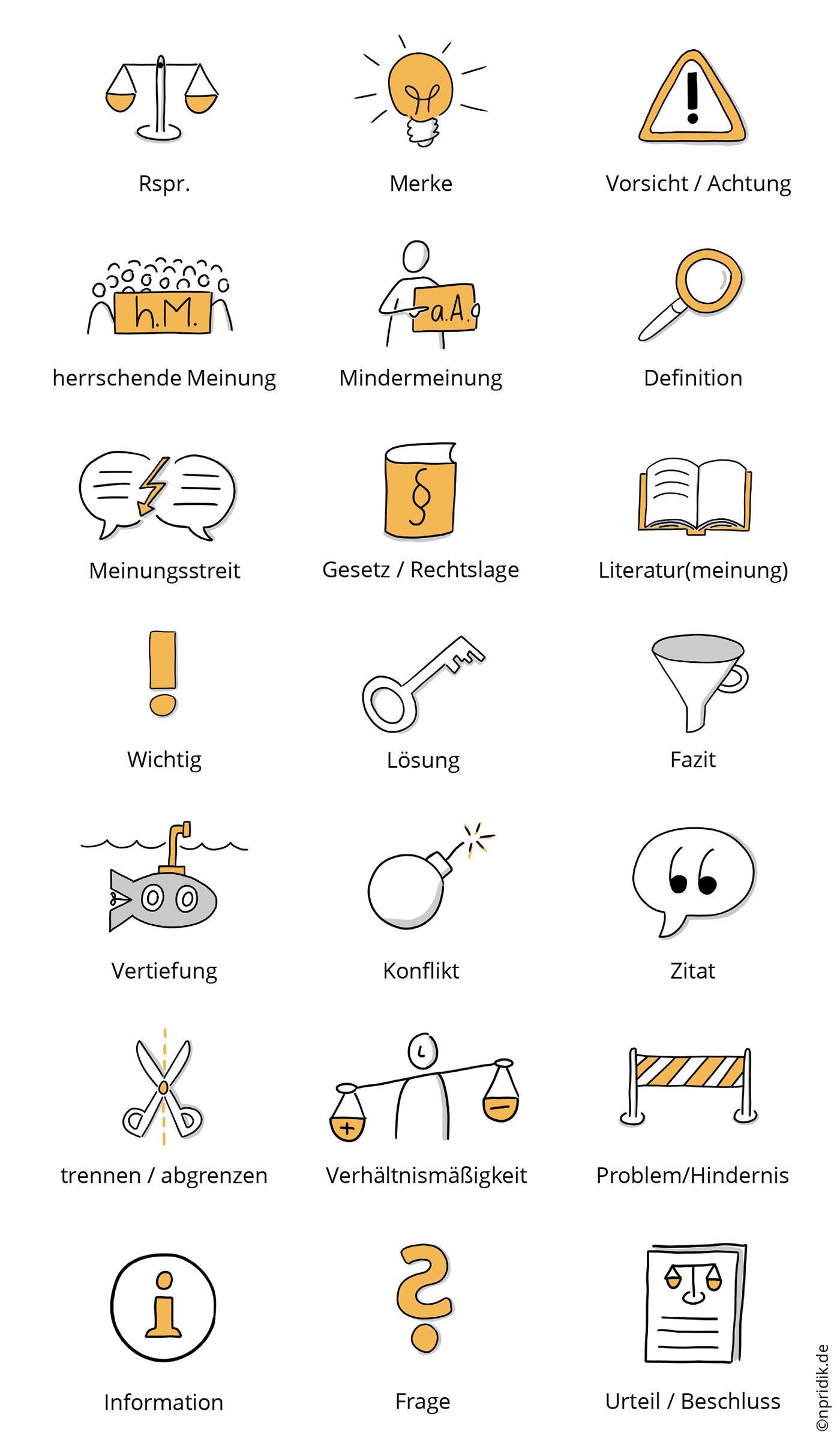 21 handgezeichnete Icons fürs Jurastudium