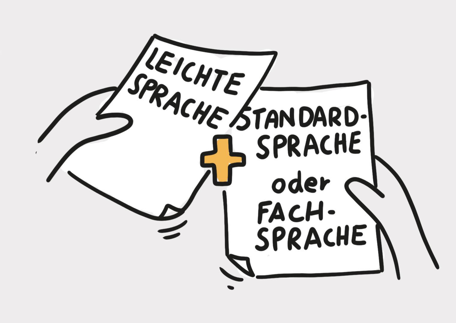 Hände kombinieren ein Blatt mit der Aufschrift Leichte Sprache und eines mit der Aufschrift Standardsprache oder Fachsprache