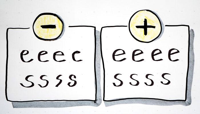 Schreiben am Flipchart: Versuchen Sie, deutlich und gleichmäßig zu schreiben
