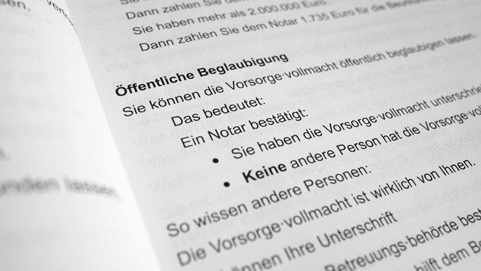 Ausschnitt aus der Leichte-Sprache-Broschüre zur Vorsorgevollmacht des Niedersächsischen Justizministeriums