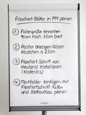 Flipchart-Blatt mit Text