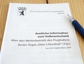 """Amtliche Information zum Volksentscheid """"Flughafen Tegel"""""""