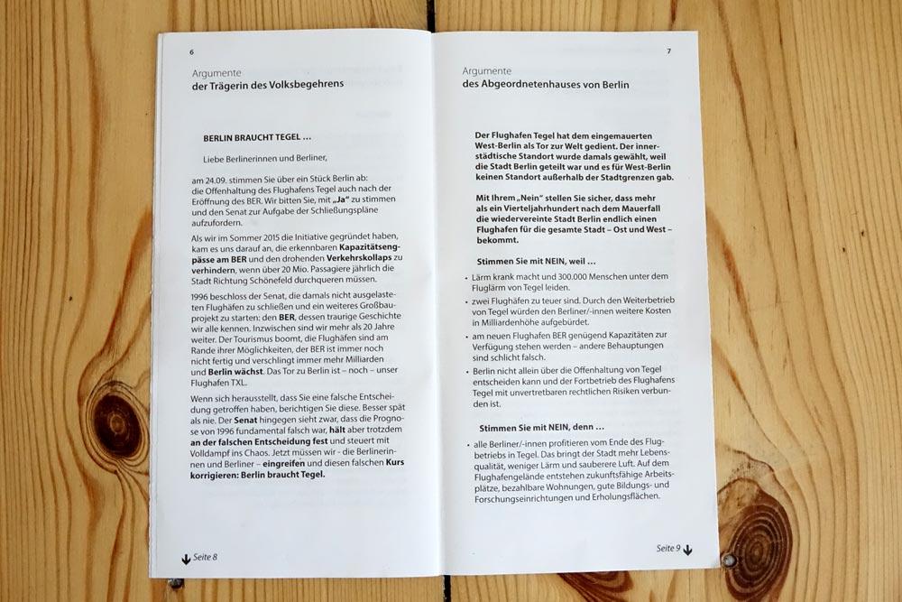 """Amtliche Information zum Volksentscheid """"Flughafen Tegel"""", S. 6/7"""