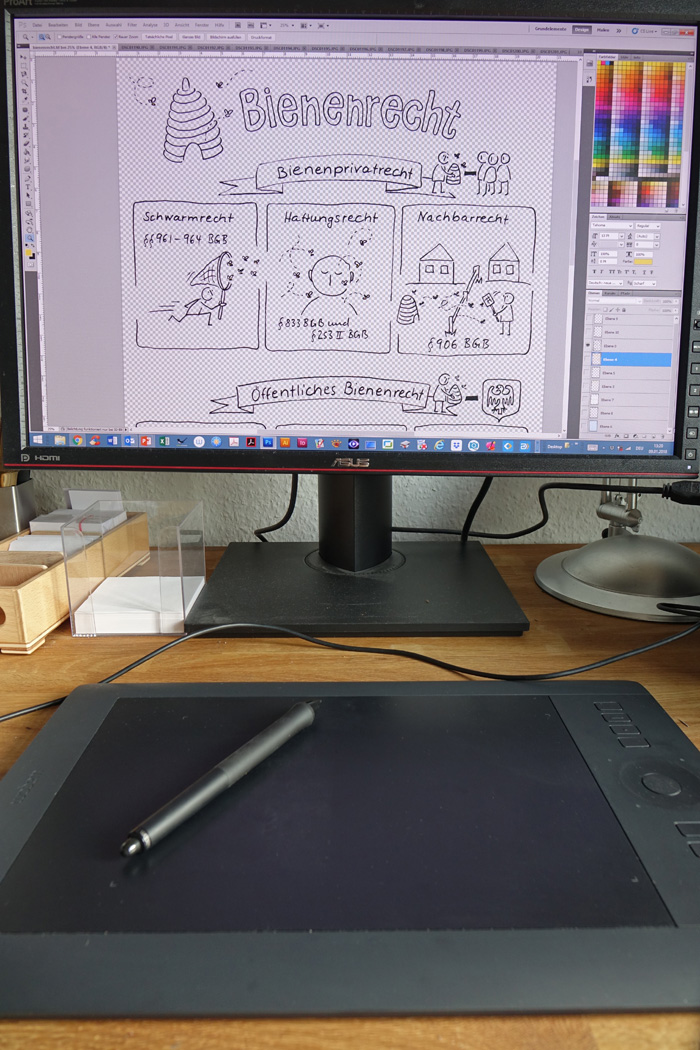 Konturenebene der Sketchnote zum Bienenrecht in Photoshop
