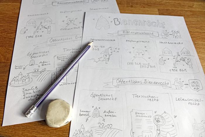 Zweiter Entwurf der Sketchnote zum Bienenrecht
