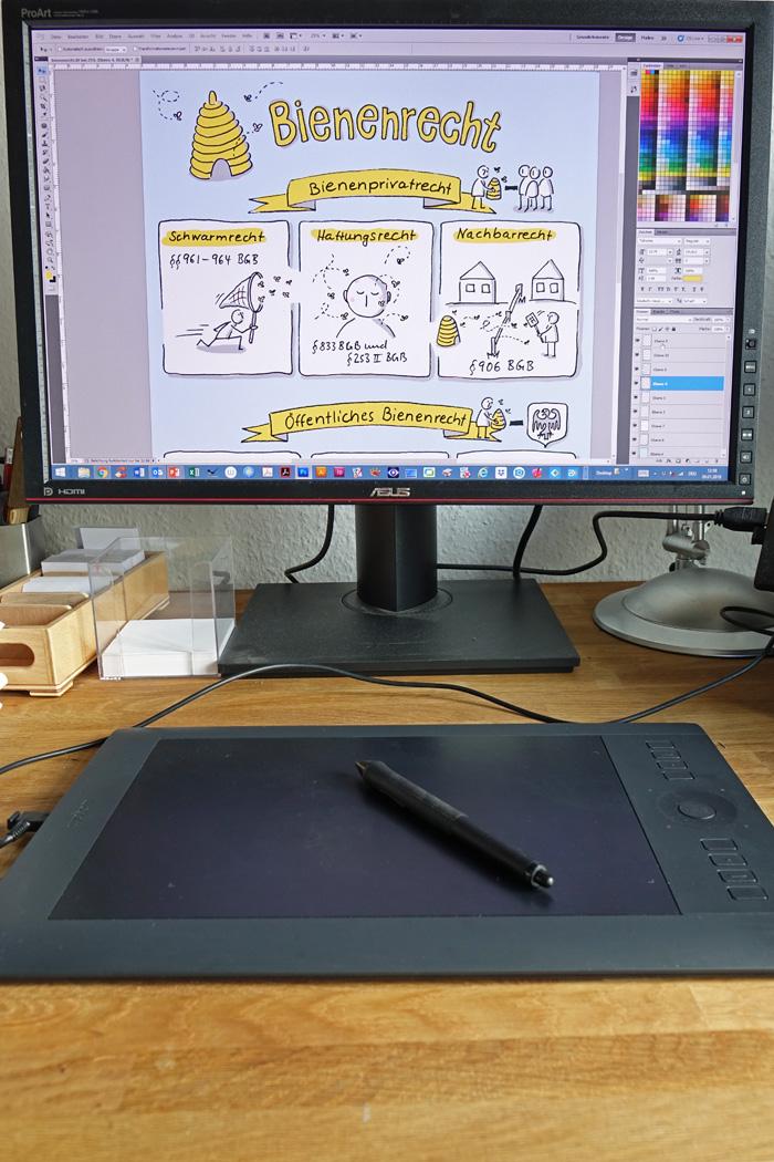 Fertige Sketchnote zum Bienenrecht in Photoshop