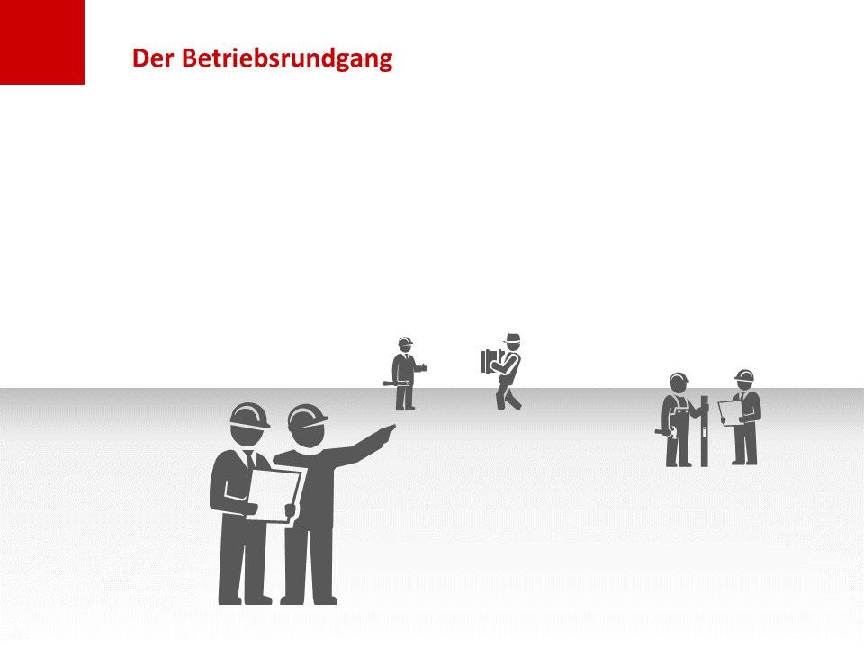 Folie Betriebsrundgang: Personen im Vorder- und Hintergrund