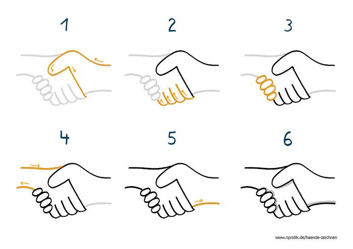 Zeichenanleitung Händedruck
