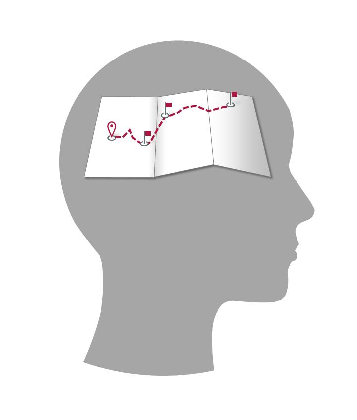 Landkarte mit eingezeichneter Tour im Kopf
