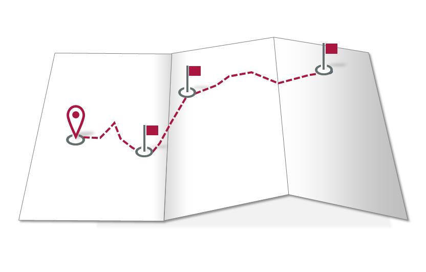 Rote Tour in der Landkarte, ohne Ortschaften und Wege