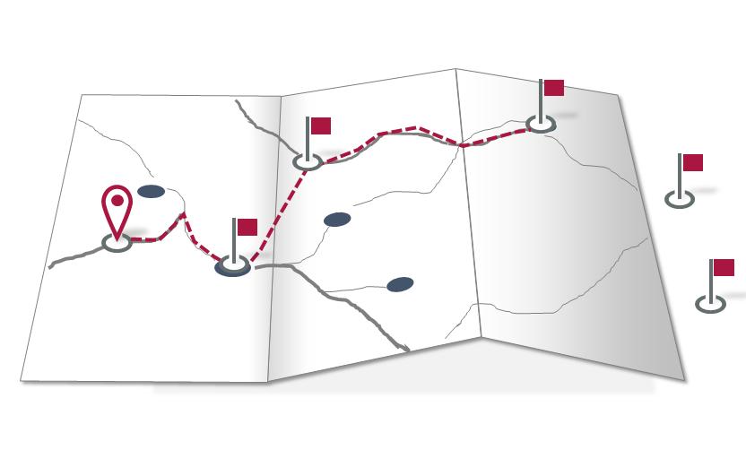 In der Landkarte verzeichnete Tour